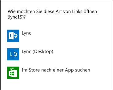 Screenshot der Lync-Benachrichtigung zur Auswahl eines Programms