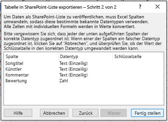 """Zweite Seite des Dialogfelds """"In SharePoint exportieren""""."""