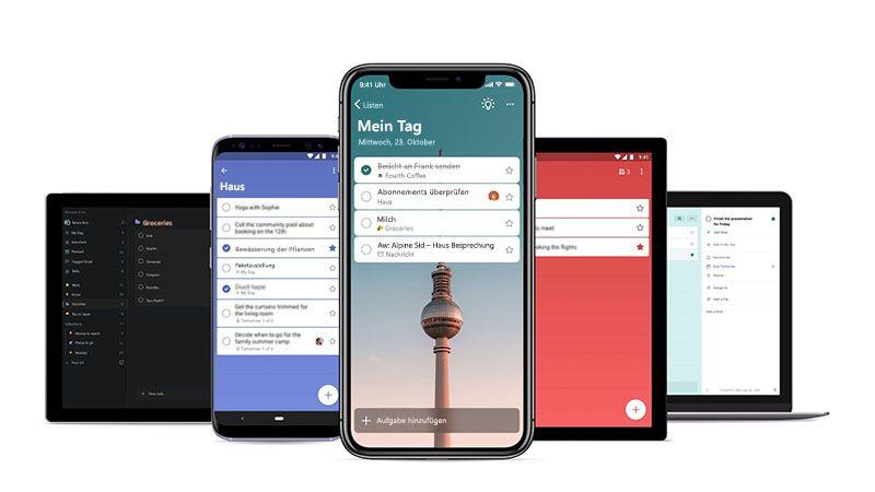 """Ein Smartphone und eine Tabelle mit dem Bildschirm """"Mein Tag"""" von Microsoft To-Do"""