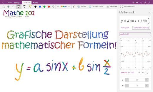 Grafische Darstellung von mathematischen Formeln in OneNote für Windows 10