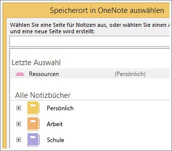 Screenshot des OneNote-Fensters, in dem Sie die Seite für die Skype-Notizen auswählen können.