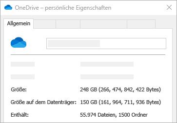 "OneDrive-Eigenschaft ""Größe auf dem Datenträger"""