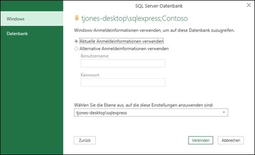 Verbinden einer SQL Server-Datenbank mit Ihrer Arbeitsmappe (Power ...