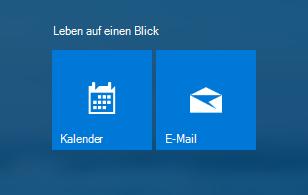 Mail- und Kalender-App auf dem Startbildschirm