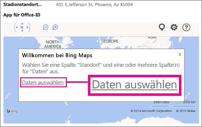 Auswählen von Daten für eine Bing Maps-App für Office in einer Access-App