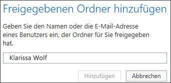 Dialogfeld 'Freigegebenen Ordner hinzufügen' in Outlook Web App