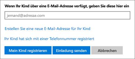 """Screenshot der Seite zum Hinzufügen eines Kinds auf der Registerkarte """"Familie"""""""