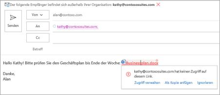 Zeigt benutzerfreundliche Verknüpfungsnamen für angefügte Dokumente