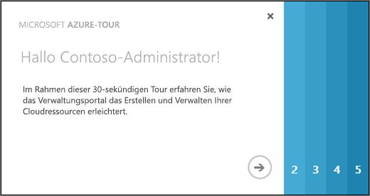 Screenshot der Begrüßungsseite für die Azure-Tour, auf der in 30 Sekunden erläutert wird, wie Sie mithilfe des Verwaltungsportals Cloudressourcen erstellen und verwalten.