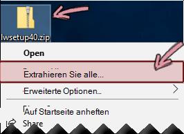 Mit der rechten Maustaste in der komprimierten Zip-Datei, um eine Datei daraus zu extrahieren.