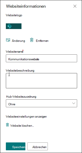 Bereich der SharePoint-Websiteinformationen