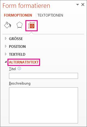 Registerkarte 'Größe und Eigenschaften' im Bereich 'Tabelle formatieren', in dem die Felder für Alternativtext angezeigt werden