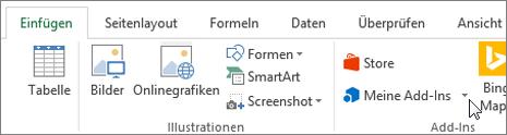 Screenshot einen Teil der Registerkarte ' Einfügen ' auf der Excel-Multifunktionsleiste mit einem Cursor auf Meine Add-Ins wählen Sie meine-Add-ins für Excel-add-ins zu Zugriff auf.