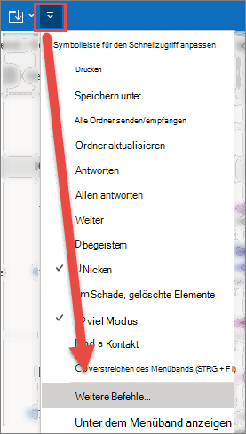 """Das Menü """"Symbolleiste für den Schnellzugriff anpassen"""" wird geöffnet, und ein Pfeil zeigt auf die Option Weitere Befehle."""