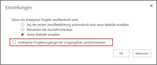 """Screenshot des Dialogfelds Einstellungen """"Synchronisieren"""" Aufgabe."""