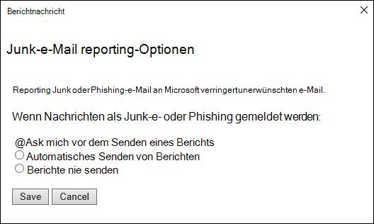 Screenshot mit Optionen für Nachrichten, die als Junk-oder Phishing-Versuche gemeldet wurden