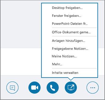 "Screenshot des geöffneten Menüs ""Inhalt teilen"""