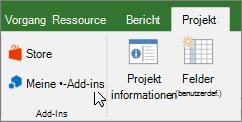 Screenshot eines Abschnitts der Registerkarte ' Projekt ' auf der Multifunktionsleiste mit einem Cursor auf der meine Dropdown-Add-ins. Wählen Sie Mein-Add-ins zum Markieren einer zuletzt verwendeten-add-in, alle Ihre-add-ins verwalten oder im Office Store für neue-add-ins aus.