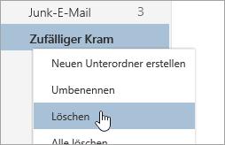 """Screenshot des Kontextmenüs """"Ordner"""" mit ausgewählter Option """"Löschen"""""""