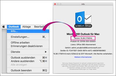 """Wählen Sie """"Outlook"""" und dann """"Info"""" aus, um Informationen zu der von Ihnen verwendeten Version anzuzeigen."""