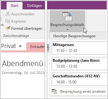 """Screenshot der Schaltfläche """"Besprechungsdetails"""" in OneNote 2016"""