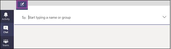 Beginnen Sie mit der Eingabe eines Namens oder einer Gruppe in Teams.