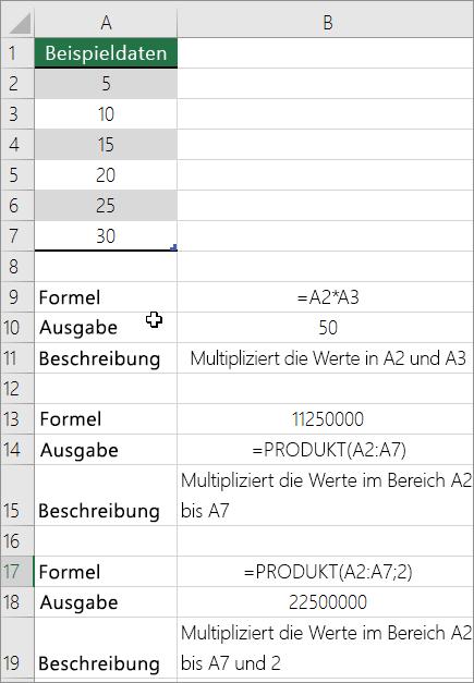 """Multiplizieren von Zahlen mit der Funktion """"Produkt"""""""