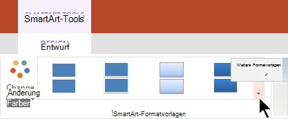 """Wählen Sie unter SmartArt-Tools den Pfeil Weitere Formatvorlagen aus, um den Katalog """"SmartArt-Formatvorlagen"""" zu öffnen."""