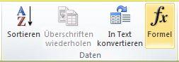 Die Gruppe 'Daten' unter 'Tabellentools' auf der Registerkarte 'Layout' im Word 2010-Menüband