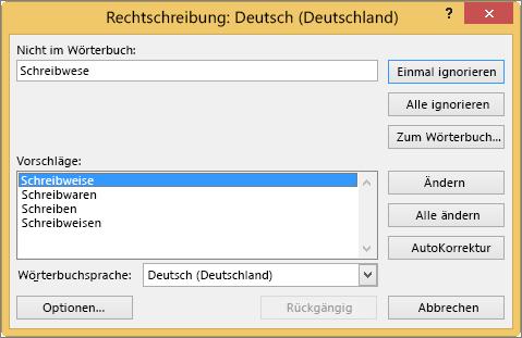 "Dialogfeld ""Rechtschreibung"""