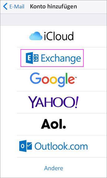 """Wählen Sie """"Exchange"""" aus."""