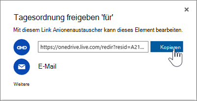 "Screenshot: Option ""Link abrufen"" im Dialogfeld ""Freigeben"" in OneDrive"
