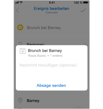 Absage-Bildschirm mit Platz zum Hinzufügen einer Nachricht
