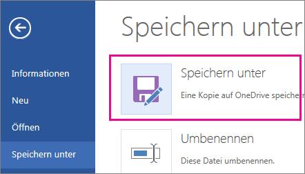 Speichern einer Kopie auf OneDrive