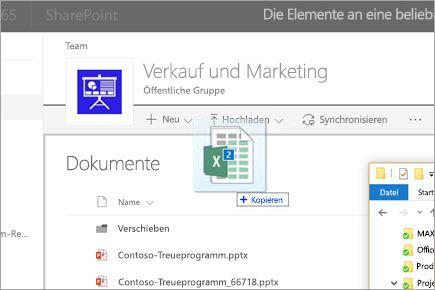 Eine Datei auf eine SharePoint-Dokumentbibliothek ziehen