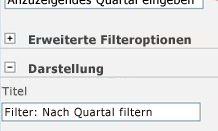 Geben Sie im Feld 'Titel' den Text 'Filter: Nach Quartal filtern' ein.