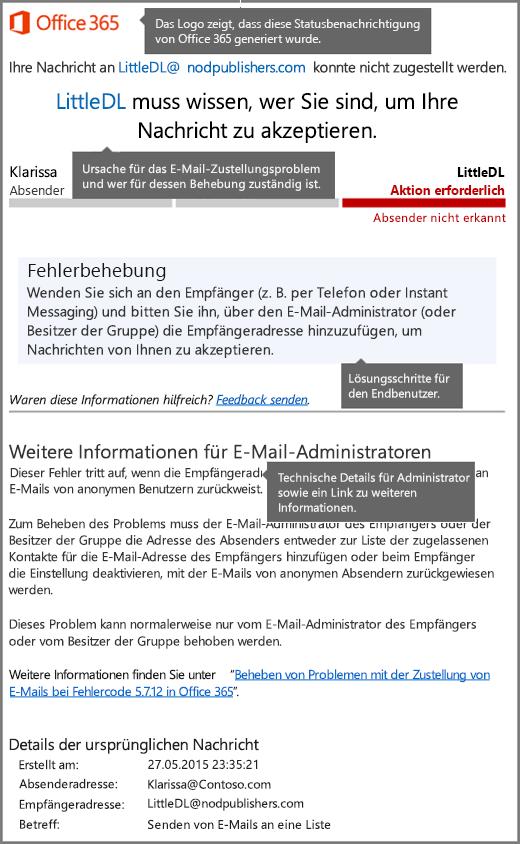Neuestes Format für die Benachrichtigung über den Zustellungsstatus (Delivery Status Notfication, DSN) in Office365