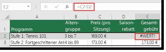 """Beispiel eines #WERT!-Fehlers, der durch ein führendes Leerzeichen in Zelle D2 verursacht wurde – die Formel in Zelle E2 lautet """"=C2-D2"""""""