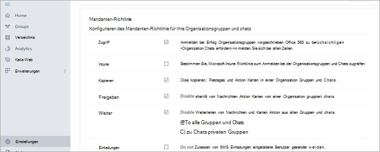 """Abschnitt """"Mandanten Richtlinie"""" im Kaizala-Verwaltungsportal"""