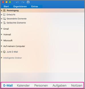 """Registerkarten """"E-Mail"""", """"Kalender"""", """"Personen"""", """"Aufgaben"""" und """"Notizen"""" im Navigationsbereich"""