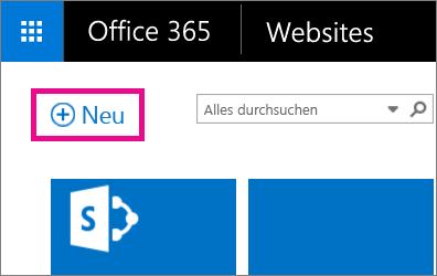"""Screenshot des Erstellens einer neuen Website über die Seite """"Websites"""""""
