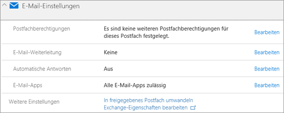 Screenshot: Office 365-Mail-Einstellungen
