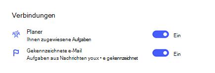 Screenshot von Verbindungen in Einstellungen mit Planner und gekennzeichneter e-Mail aktiviert