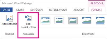 Wählen Sie 'Format', dann 'Bild zurücksetzen', um alle Änderungen zu entfernen
