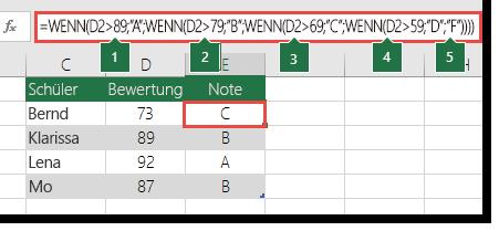 "Komplexe geschachtelte WENN-Anweisung – Die Formel in E2 lautet =WENN(B2>97;""A+"":WENN(B2>93;""A"";WENN(B2>89;""A-"";WENN(B2>87;""B+"";IF(B2>83;""B"";WENN(B2>79;""B-"";WENN(B2>77;""C+"";WENN(B2>73;""C"";WENN(B2>69;""C-"";WENN(B2>57;""D+"";WENN(B2>53;""D"";WENN(B2>49;""D-"";""F""))))))))))))"