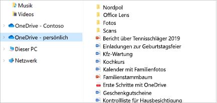 Geöffneter Datei-Explorer mit OneDrive – persönlich ausgewählt