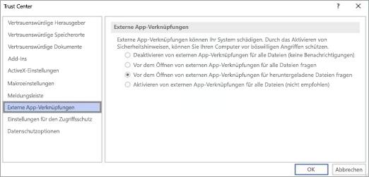 Wählen Sie die Option aus, die Sie in Visio für externe App-Links verwenden möchten.