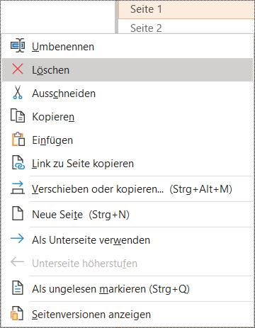 Dialogfeld zum Löschen einer Seite in OneNote für Windows
