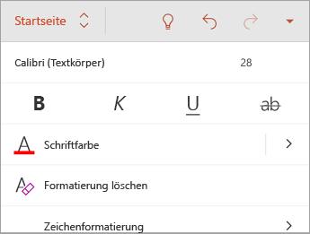 """Registerkarte """"Start"""" mit Formatierungsoptionen für die Schriftart"""