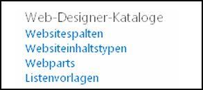 """Optionen aus den Web-Designer-Katalogen auf der Seite """"Websiteeinstellungen"""" in SharePoint Online"""